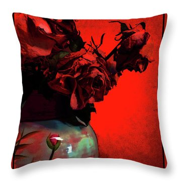 Poppies And Roses Throw Pillow