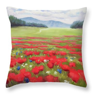 Poppies And Thunderclouds Throw Pillow