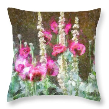 Poppies And Verbascum 2 Throw Pillow by Shirley Stalter