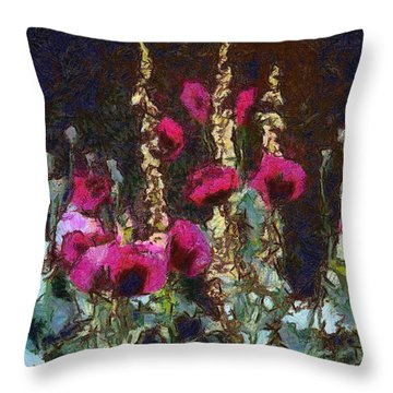 Poppies And Verbascum Throw Pillow by Shirley Stalter