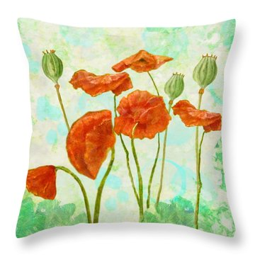 Throw Pillow featuring the mixed media Poppies by Angeles M Pomata