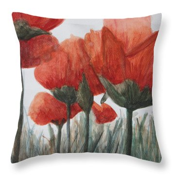 Poppies Throw Pillow by Betty-Anne McDonald