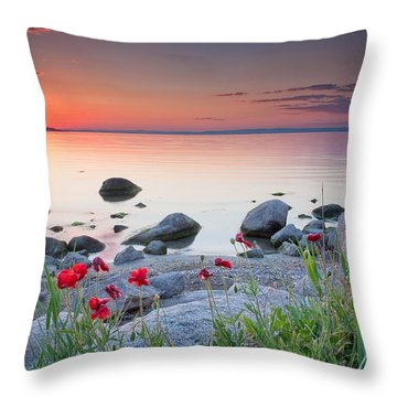 Poppies By The Sea Throw Pillow