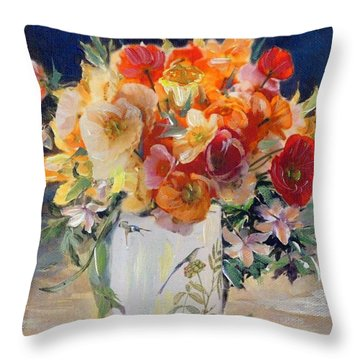 Poppies, Clematis, And Daffodils In Porcelain Vase. Throw Pillow