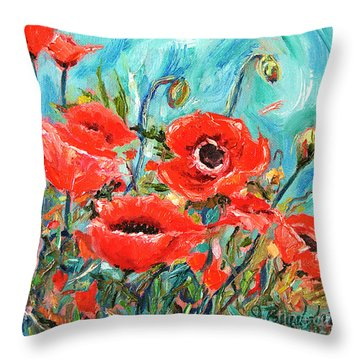 Throw Pillow featuring the painting Poppies Delight by Jennifer Beaudet