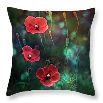 Poppies Fairytale Throw Pillow by Agnieszka Mlicka