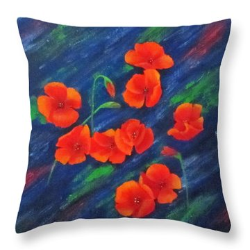 Poppies In Abstract Throw Pillow