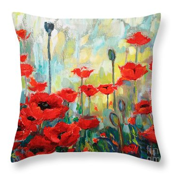 Throw Pillow featuring the painting Poppies In Bloom by Jennifer Beaudet