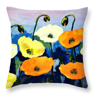 Poppies In Colour Throw Pillow