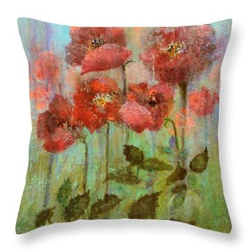 Poppies In Pastel Watercolour Throw Pillow