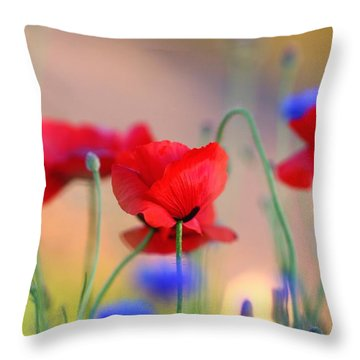 Poppies In Spring  Throw Pillow by Lynn Hopwood