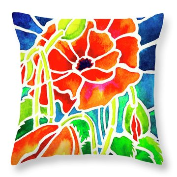 Poppies In Stained Glass Throw Pillow by Janis Grau