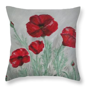 Poppies In The Mist Throw Pillow by Sharyn Winters