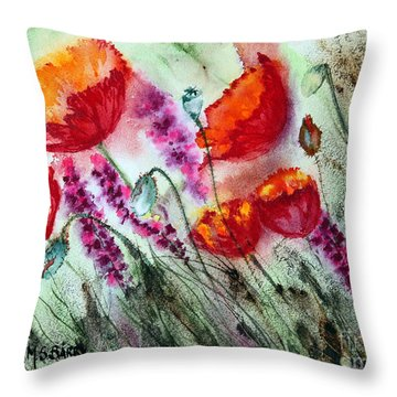 Poppies In The Wind Throw Pillow by Maria Barry