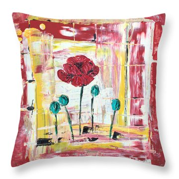 Poppies In The Window Throw Pillow