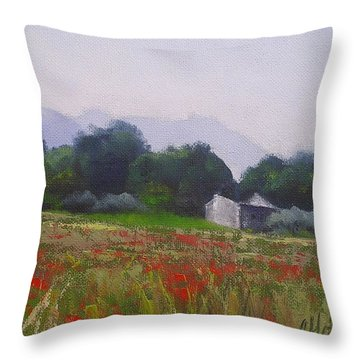 Throw Pillow featuring the painting Poppies In Tuscany by Chris Hobel
