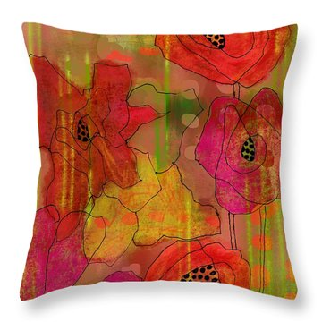 Throw Pillow featuring the digital art Poppies by Lisa Noneman