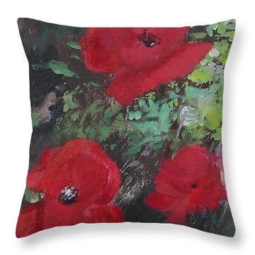 Poppies  Throw Pillow by Lizzy Forrester