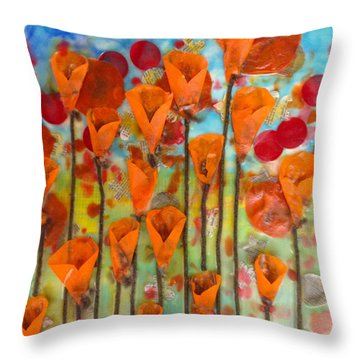 Poppies Make Me Happy Throw Pillow