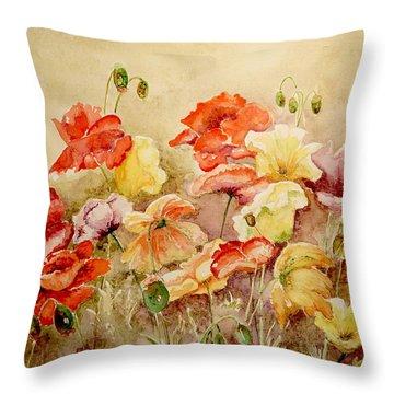 Poppies Throw Pillow by Marilyn Zalatan