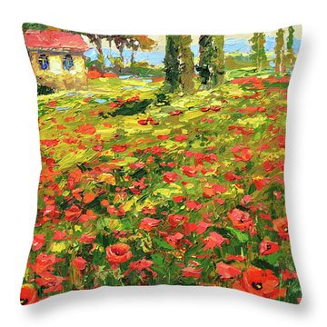 Poppies Near The Village Throw Pillow