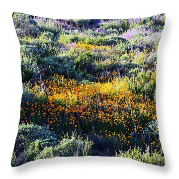 Throw Pillow featuring the photograph Poppies On A Hillside by Glenn McCarthy Art and Photography