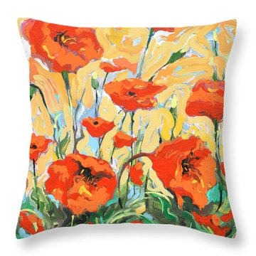 Poppies On A Yellow            Throw Pillow