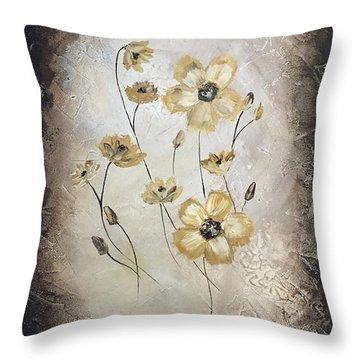Poppies On Black Throw Pillow