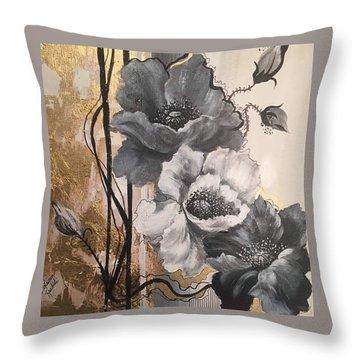 Poppies On Gold Throw Pillow