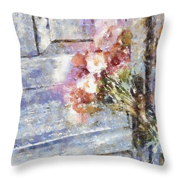 Poppies On Weathered Door Throw Pillow by Shirley Stalter