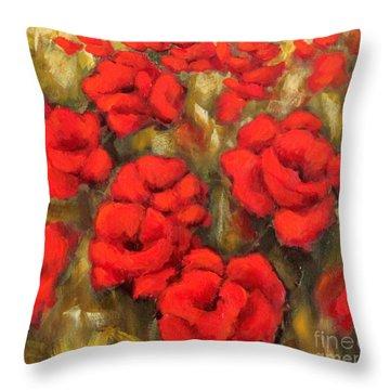 Poppies Passion Fragment Throw Pillow
