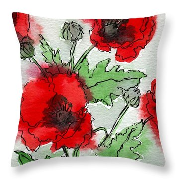 Poppies Popped Throw Pillow