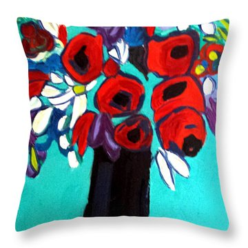 Poppies Red Throw Pillow