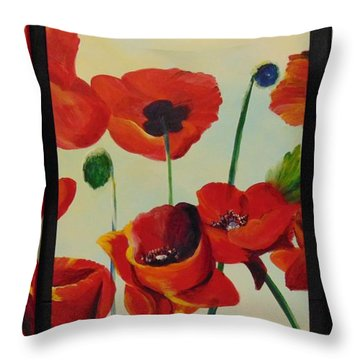 Throw Pillow featuring the painting Poppies by Saundra Johnson