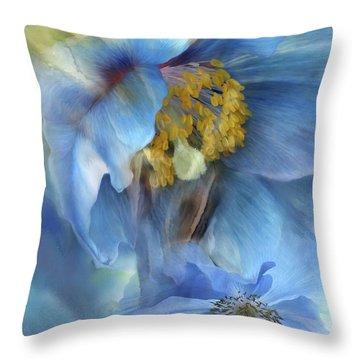 Poppies So Blue Throw Pillow by Carol Cavalaris