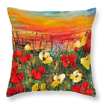 Poppies Throw Pillow by Teresa Wegrzyn