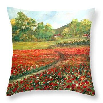 Poppies Time Throw Pillow