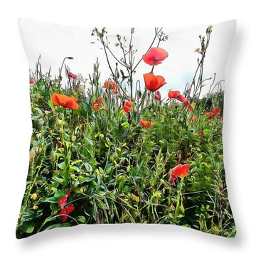 Poppies Tower Above You Throw Pillow