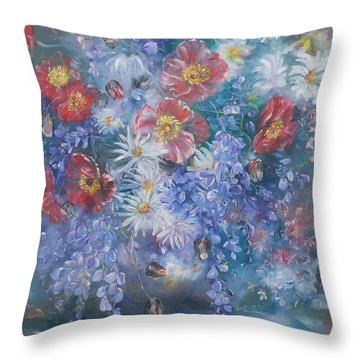 Poppies, Wisteria And Marguerites Throw Pillow
