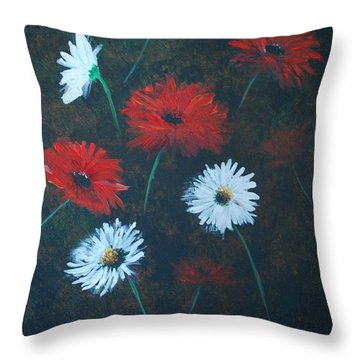 Throw Pillow featuring the painting Poppin Daisies by Leslie Allen