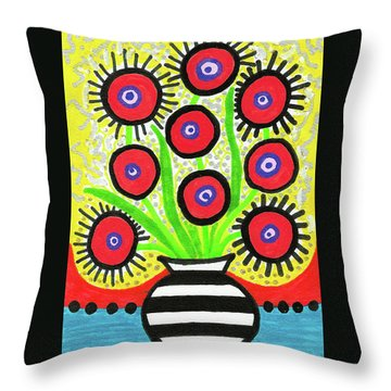 Poppin' Red Poppies Throw Pillow