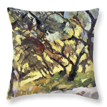 Popping Sunlight Through The Olive Grove Throw Pillow