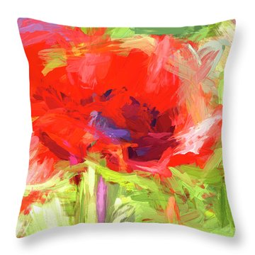 Throw Pillow featuring the photograph Poppy Abstract Photo Art by Sharon Talson