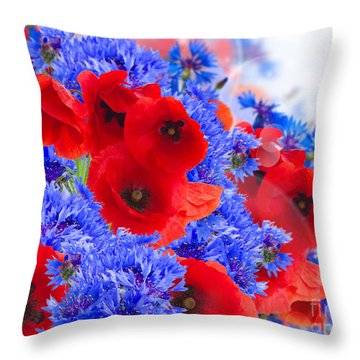 Poppy And Cornflower Flowers Throw Pillow