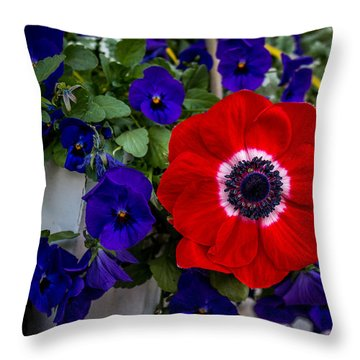 Poppy And Pansies Throw Pillow