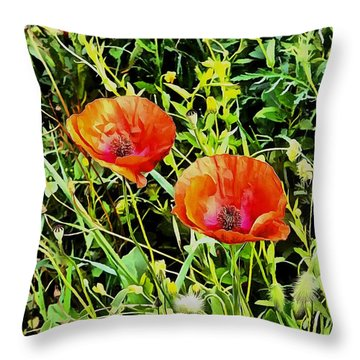 Poppy Beauties Throw Pillow