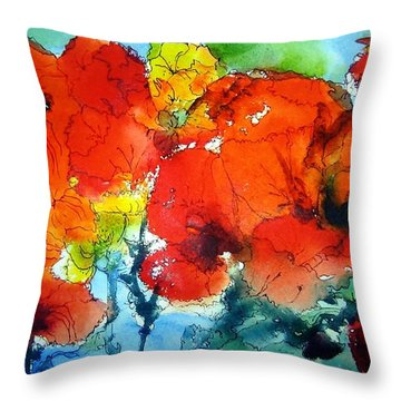 Poppy Bouquet Throw Pillow