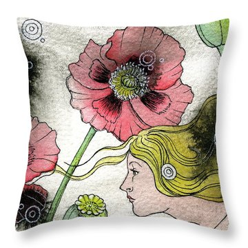 Throw Pillow featuring the painting Poppy Dream by Sheri Howe