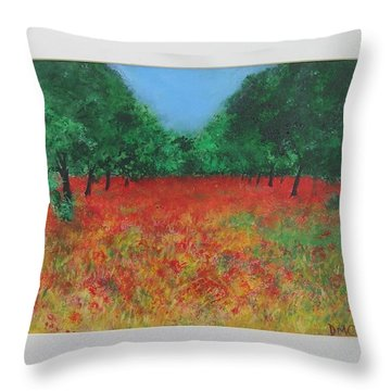 Poppy Field In Ibiza Throw Pillow by Lizzy Forrester