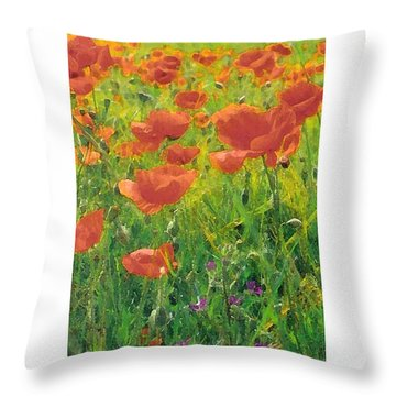 Throw Pillow featuring the digital art Poppy Field by Julian Perry